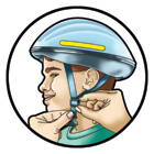 On most helmets, the straps can be pulled from the back of the helmet to lengthen or shorten the chin straps. This task is easier if you take the helmet off to make these adjustments.